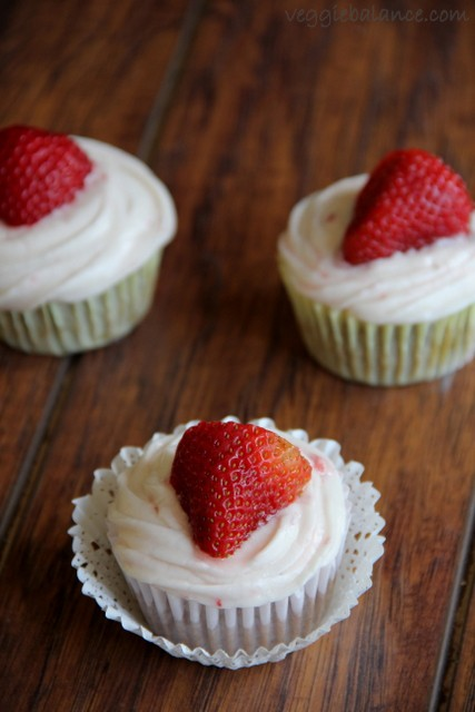 Strawberry Cupcakes with Cream Cheese Frosting made with a secret ingredient