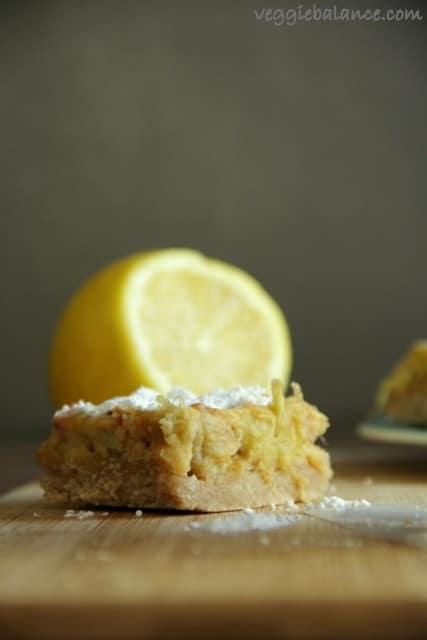 Lemon Rhubarb Bars - Veggiebalance.com