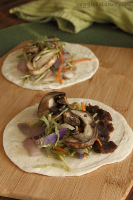 Thai Peanut Veggie Wraps made quickly for a fabulous vegetarian thai wrap for dinner. (Gluten-Free, Dairy-Free, Vegan)