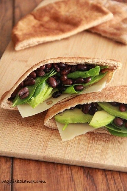 Avocado Black Bean Pita - Veggiebalance.com