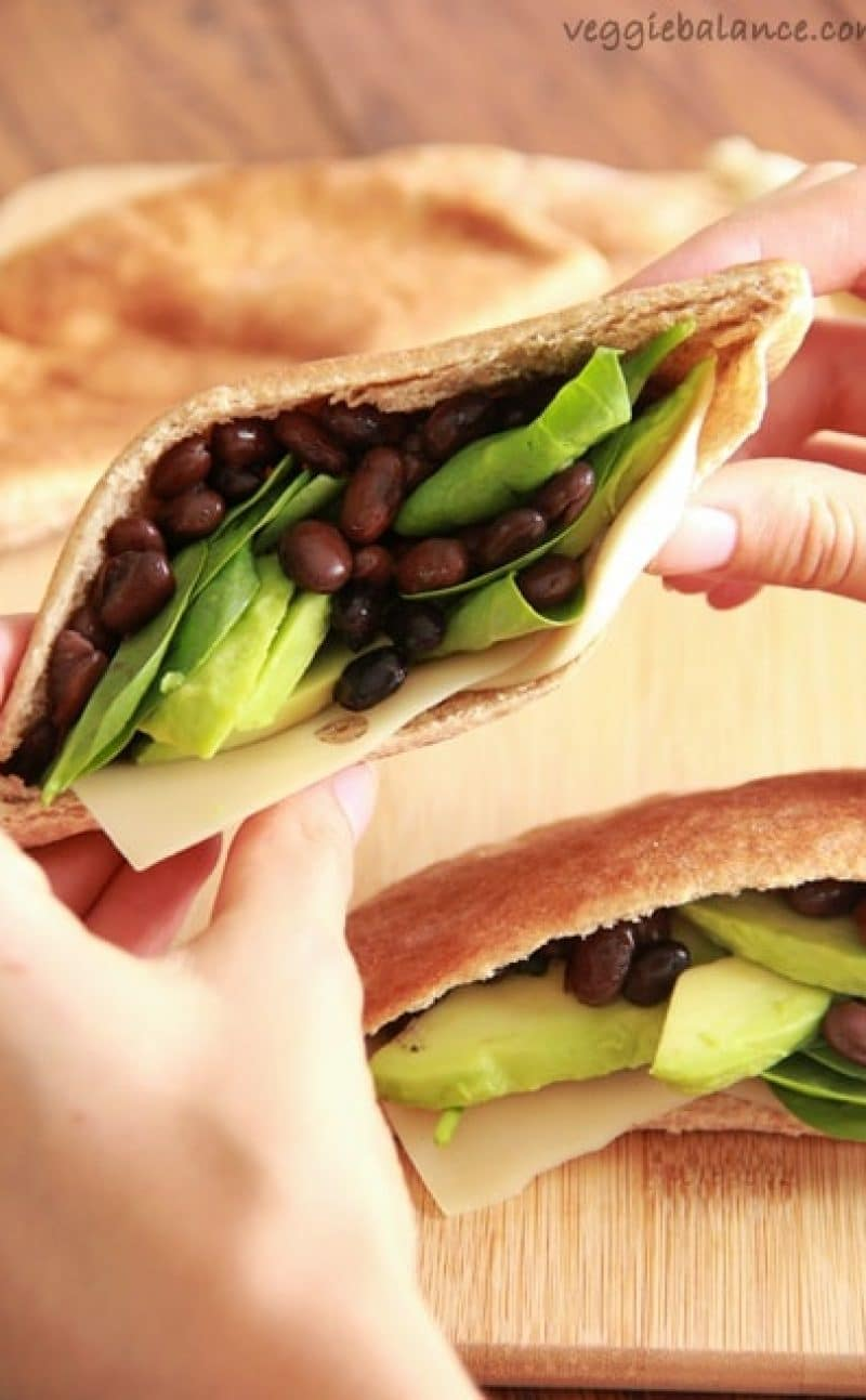 Avocado Black Bean Pita