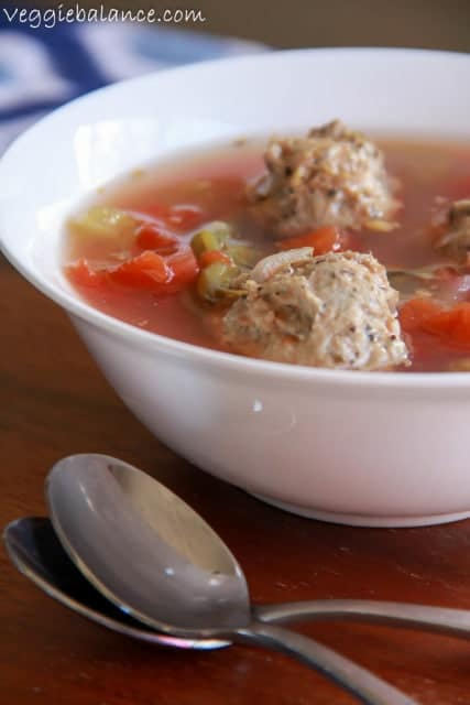 Chicken Meatball Vegetable Soup - Veggiebalance.com