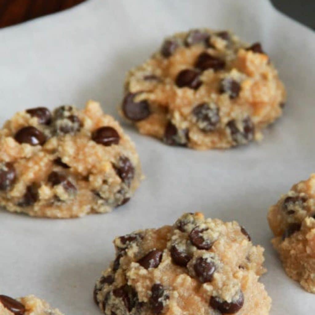Flourless Peanut Butter Chocolate Chip Cookies on a baking sheet