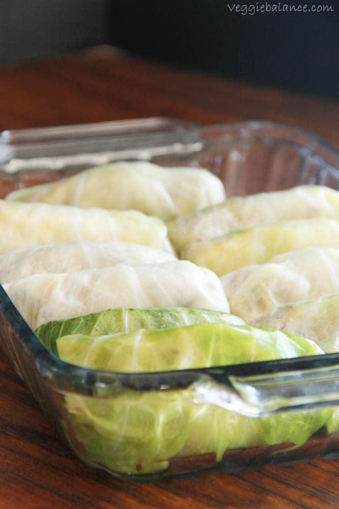 Cabbage Rolls in Tomato Sauce - Veggiebalance.com