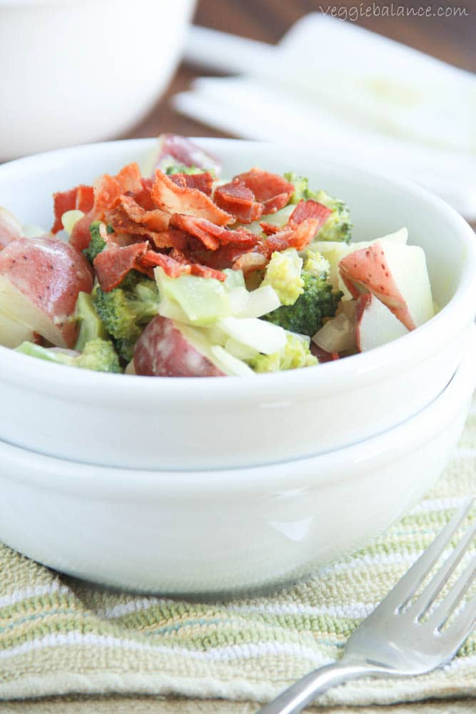 Broccoli Potato Bacon Salad - Veggiebalance.com