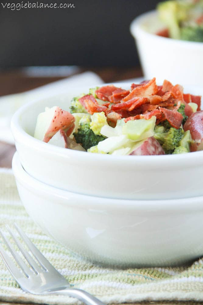 Broccoli Potato Bacon Salad - Veggiebalance.com