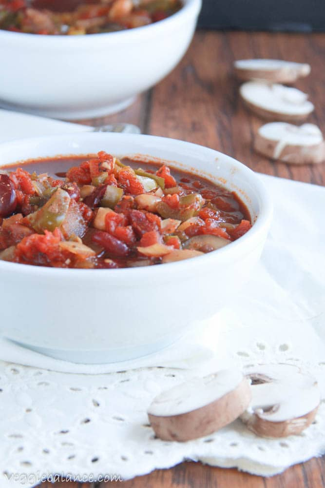 Vegetarian Chili with Banana Peppers - Veggiebalance.com