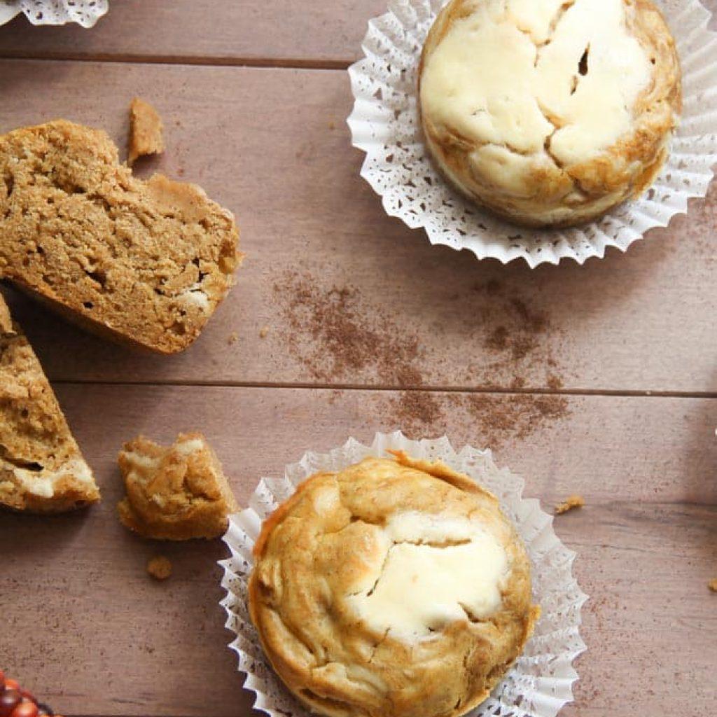 Healthy Pumpkin Cream Cheese Muffins (gluten-free)