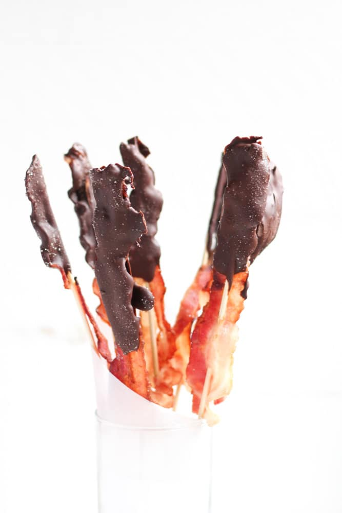Chocolate Covered Bacon in glass jar