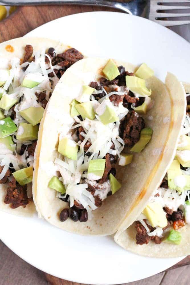 Chorizo Tacos with Black Beans - Veggiebalance.com