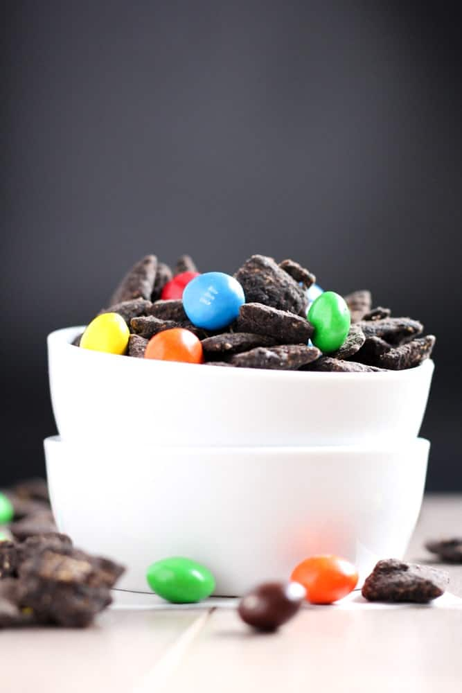 Dark Chocolate Peanut Butter Puppy Chow Recipe make it the best Gluten-Free and low-sugar snack ever!
