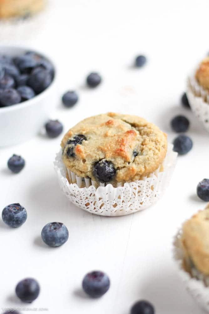 Gluten Free Blueberry Muffins recipe made healthy with Almond Flour - Veggiebalance.com