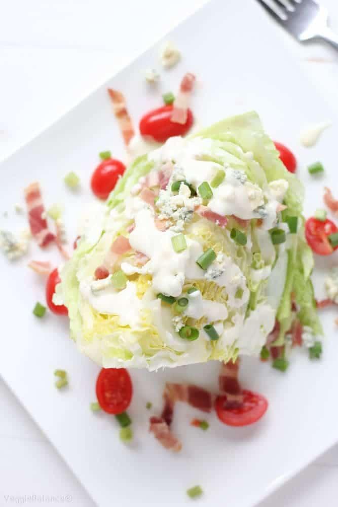 Blue Cheese Wedge Salad with Bacon - Veggiebalance.com