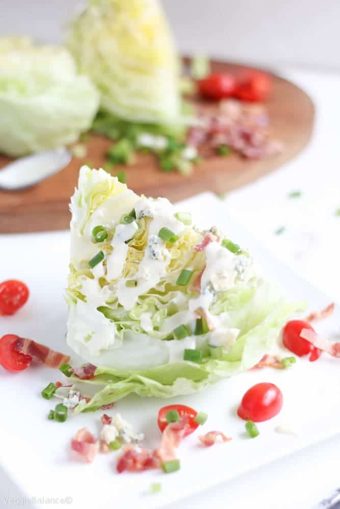 Blue Cheese Wedge Salad with Bacon - Veggiebalance.com