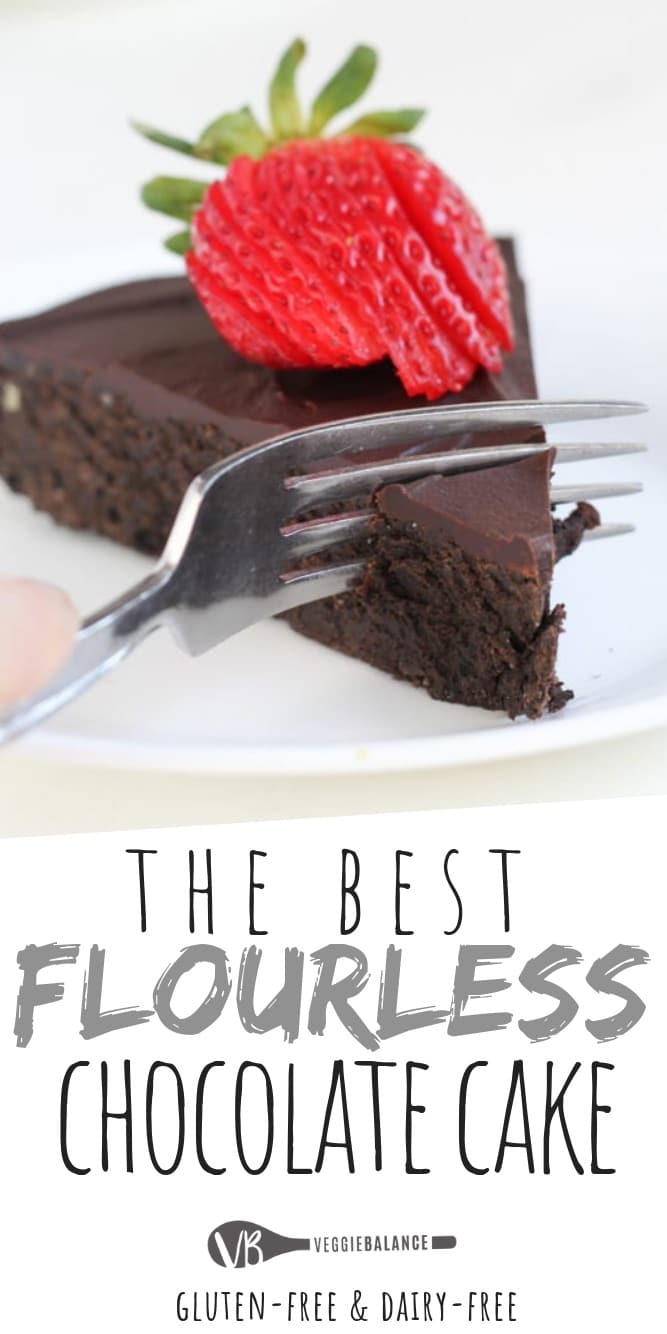 Flourless Chocolate Cake recipe is a perfectly decadent, fudgy chocolate cake. This cake requires zero flour which makes it naturally gluten-free! Top it with a dairy-free chocolate ganache and this easy flourless cake is ready to impress. #flourless #chocolate #glutenfree #dairyfree #glutenfreecake #easydessert #dessert #cake #flourlesscake