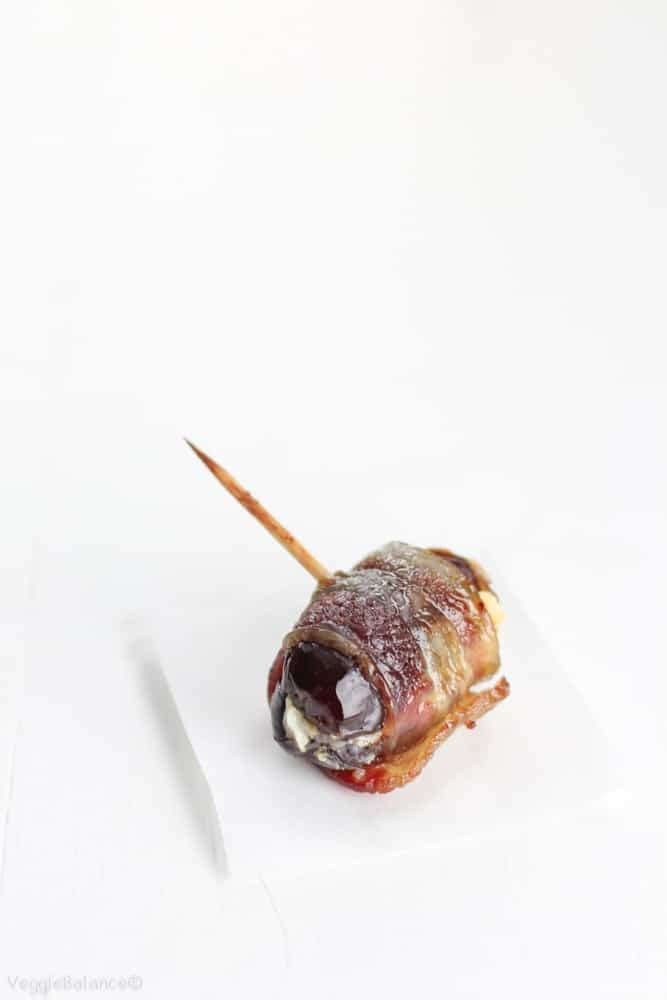 Bacon Wrapped Dates with Goat Cheese - Veggiebalance