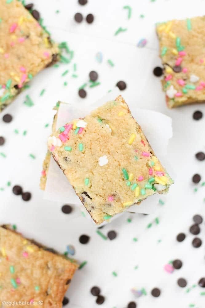 Cake Batter Blondies (Gluten-Free & Dairy-Free) - Veggiebalance.com