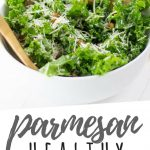 """PINTEREST IMAGE with words """"Parmesan Healthy Kale Lemon Salad"""" Healthy Kale Lemon Salad with parmesan on top in a white bowl"""