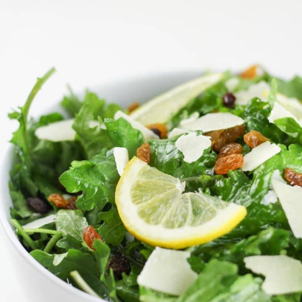 Kale Lemon Salad with Parmesan and Golden Raisins