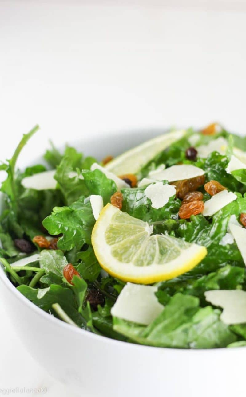 Kale Lemon Salad with Parmesan and Golden Raisins