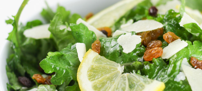 Kale Lemon Salad (Parmesan, Golden Raisins)