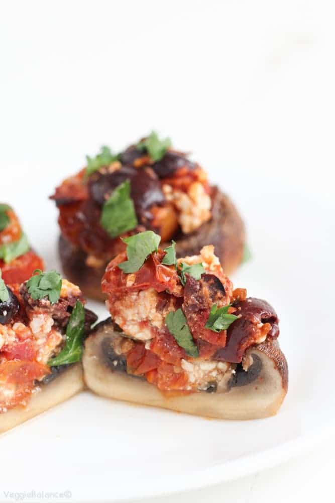 Stuffed Mushrooms Feta Roasted Tomatoes - Veggiebalance.com