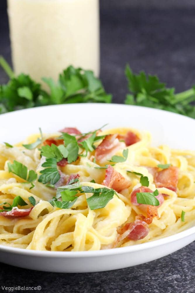 Fettuccine Alfredo with Bacon {Dairy-Free} - Veggiebalance.com