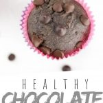 "PINTEREST IMAGE with words ""Healthy Chocolate Banana Muffins"" Healthy Chocolate Banana Muffin with chocolate chips on top"