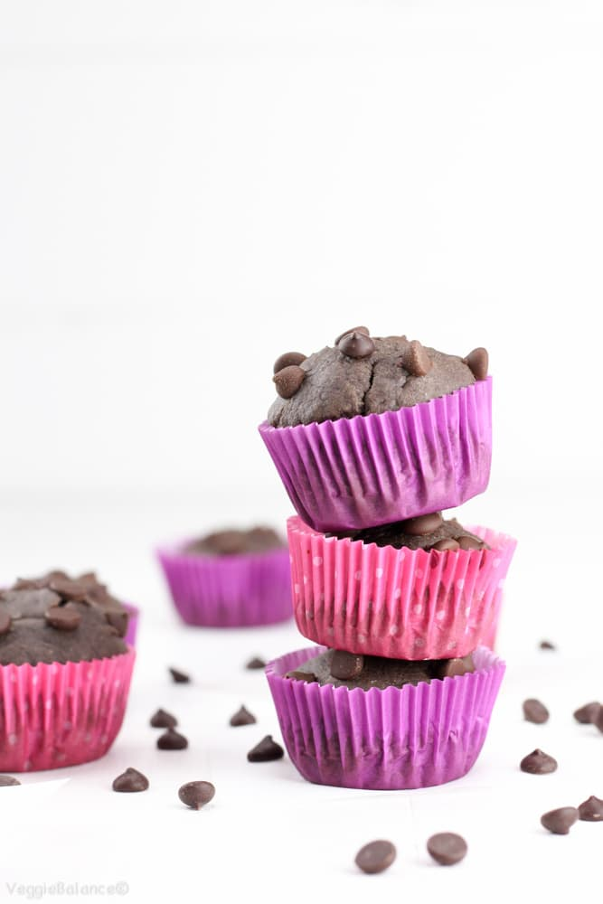 Healthy Double Chocolate Chip Banana Muffins - Veggiebalance.com
