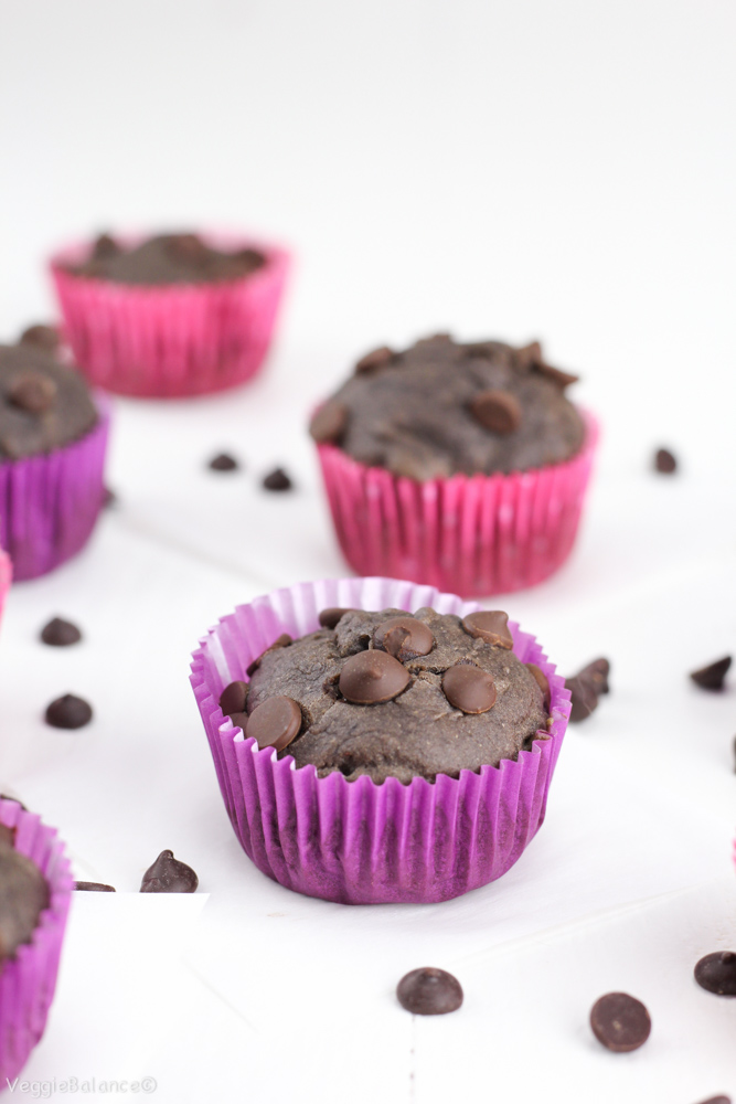 Healthy Double Chocolate Chip Banana Muffins