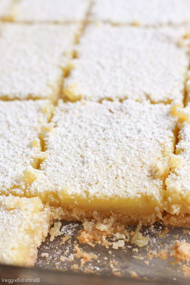 Healthy Lemon Bars recipe {Gluten-Free, Dairy-Free, Low-Sugar} - Veggiebalance.com