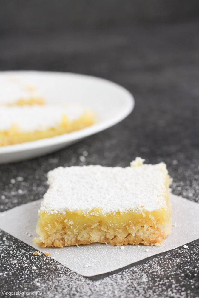 Healthy Lemon Bars recipe made with a healthy almond flour crust. Less than half the sugar and butter compared to traditional lemon bar recipes and still captures your heart as the best lemon bar recipe. {Gluten-Free, Dairy-Free, Low-Sugar}