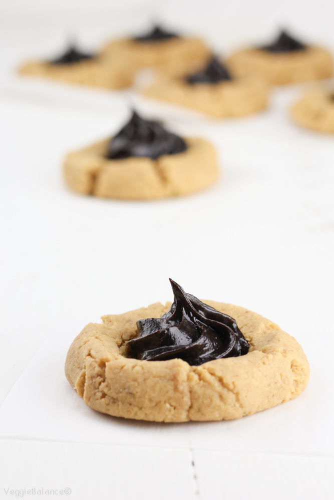 Peanut Butter Chocolate Thumbprint Cookies - VeggieBalance