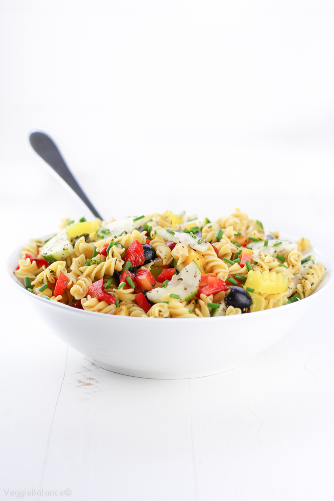Healthy Italian Pasta Salad with a Homemade Italian Dressing recipe. This is a Trifecta of an Italian Salad because it's Gluten Free, Dairy Free and Vegan Friendly! This recipe has ALL the amazing fresh summer flavor of an Italian Pasta Salad minus the allergens.