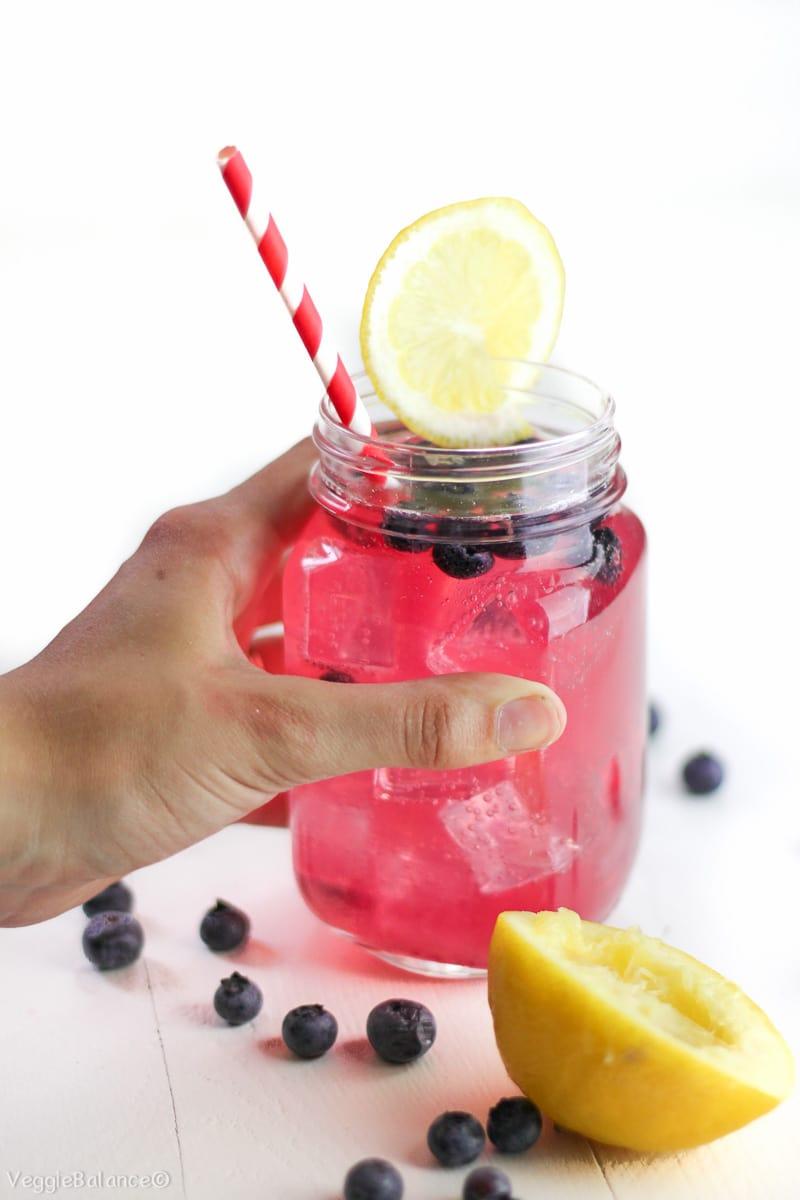 Blueberry Wine Spritzer recipe with Blueberry Simple Syrup Recipe - Veggiebalance.com