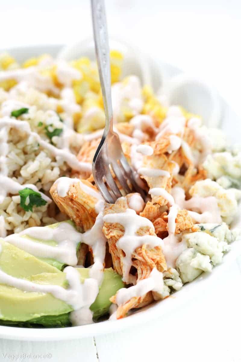 Crockpot Buffalo Chicken Recipe in Healthy Buddha Bowls - Veggiebalance.com