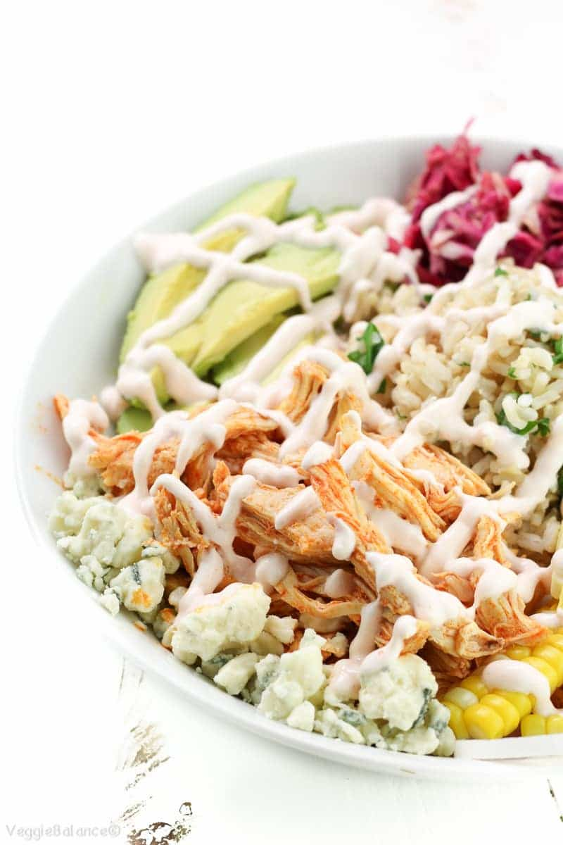 Crockpot Buffalo Chicken Recipe in Healthy Buddha Bowls - Veggiebalance.com