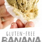 """PINTEREST IMAGE with words """"Gluten Free Banana Muffins"""" Gluten Free Banana Muffin being held"""