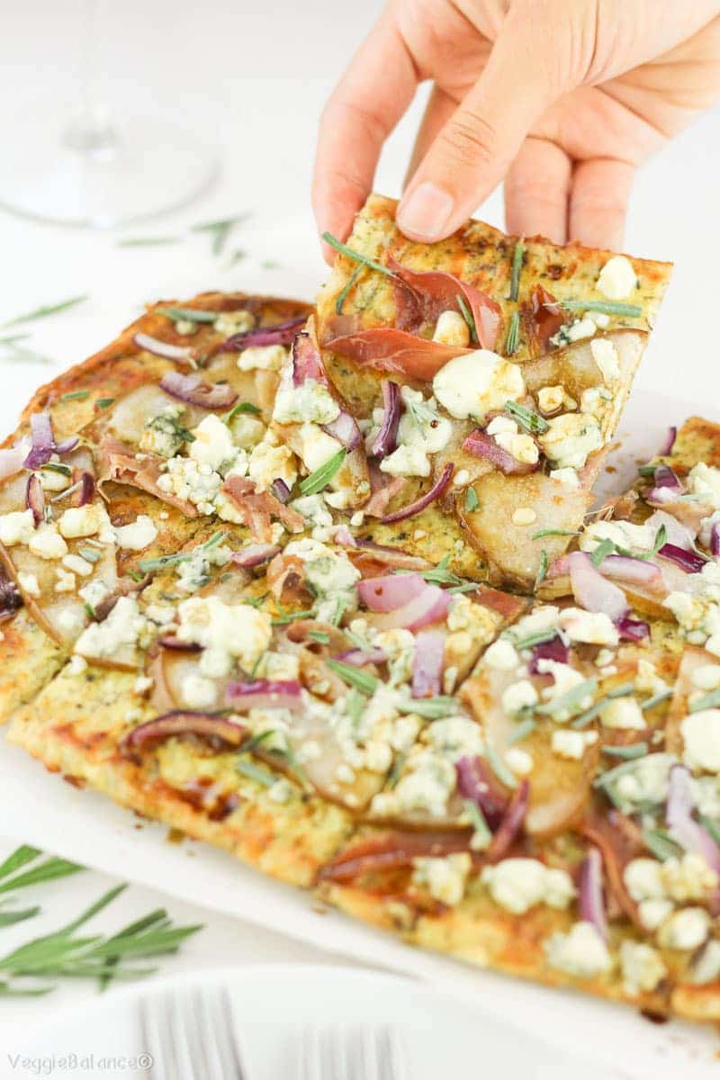 Low-Carb Pizza Recipe with Pears Prosciutto Red Onion Gluten-Free - Veggiebalance.com