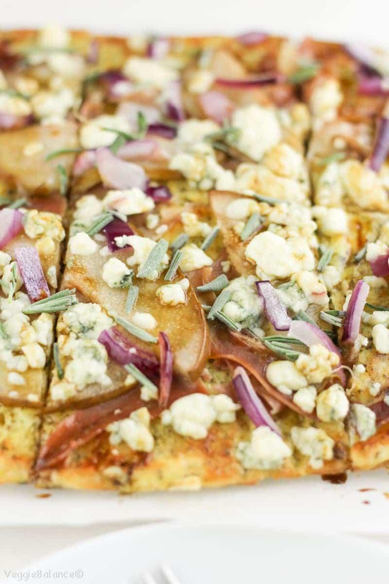Low-Carb Pizza Recipe with Pears Prosciutto Red Onion Gluten-Free - Veggiebalance.com