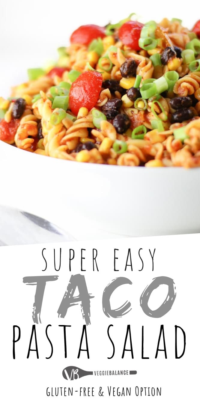 Taco Pasta Salad recipe made in just 15 minutes. So easy to make with healthy, all-natural ingredients. In no-time you'll have the perfect Easy Cold Taco Pasta Salad for the cookout. #Vegetarian #GlutenFree #DairyFree #Vegan #Healthy #PastaSalad #EasySideDish
