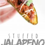 """PINTEREST IMAGE with words """"stuffed jalapenos poppers"""" stuffed jalapenos popper being held"""