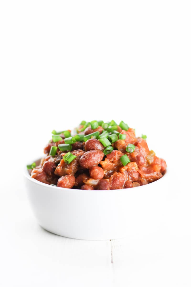 Easy Crockpot Baked Beans Recipe Gluten-Free Dairy-free Natural Lower-Sugar - Veggiebalance.com