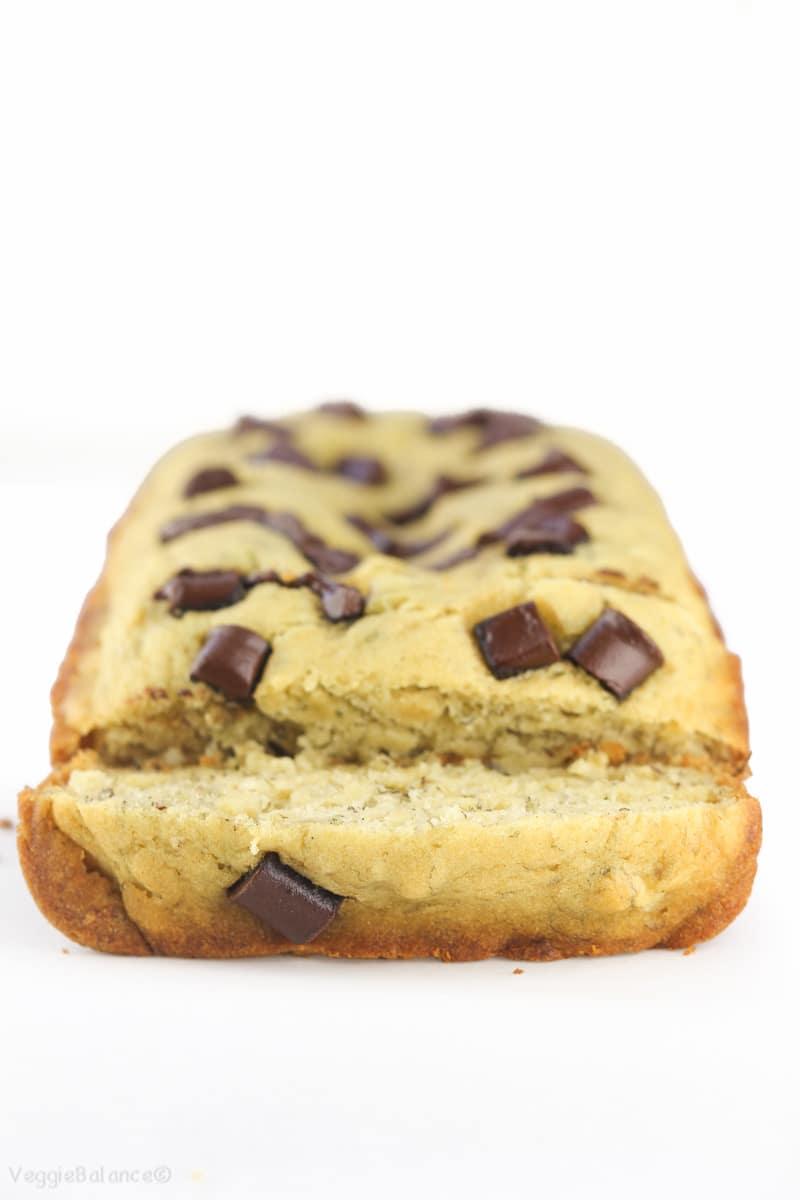 Gluten-Free Chocolate Chip Banana Bread recipe made healthy - Veggiebalance.com
