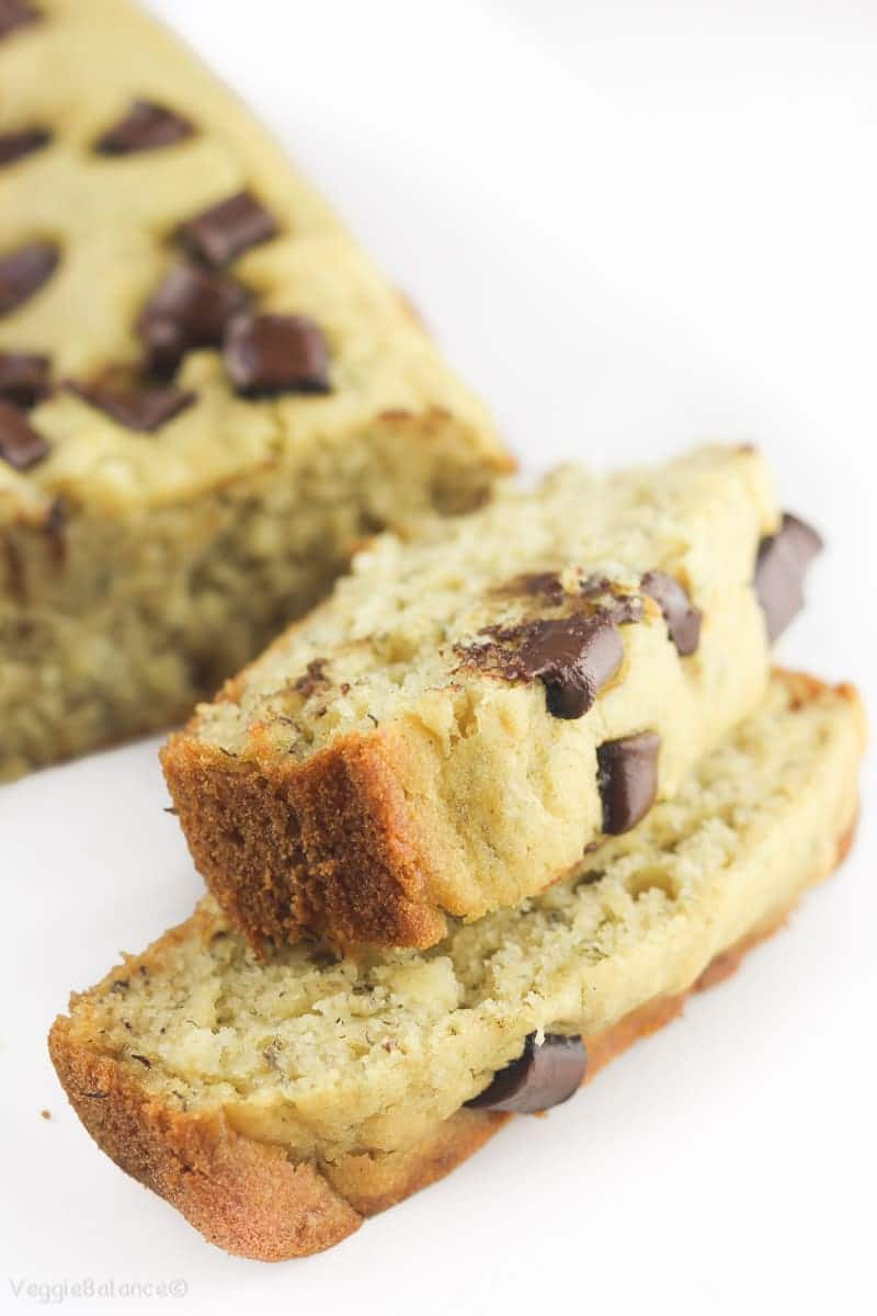 Gluten-Free Chocolate Chip Banana Bread recipe made healthy - Veggiebalance.com