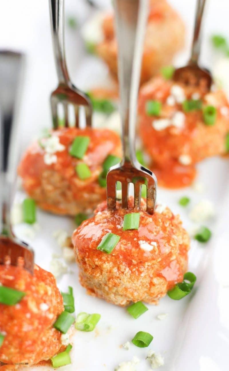 Crockpot Buffalo Chicken Meatballs (Gluten Free, Dairy Free)