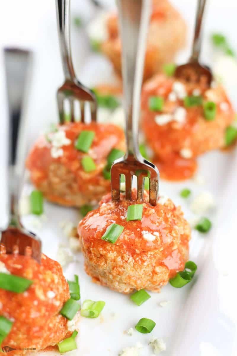 Crockpot Buffalo Chicken Meatballs recipe - Veggiebalance.com