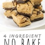 """PINTEREST IMAGE with words """"4 ingredient No Bake Buckeye Bars"""" No Bake Buckeye Bars piled on a plate with chocolate drizzle"""