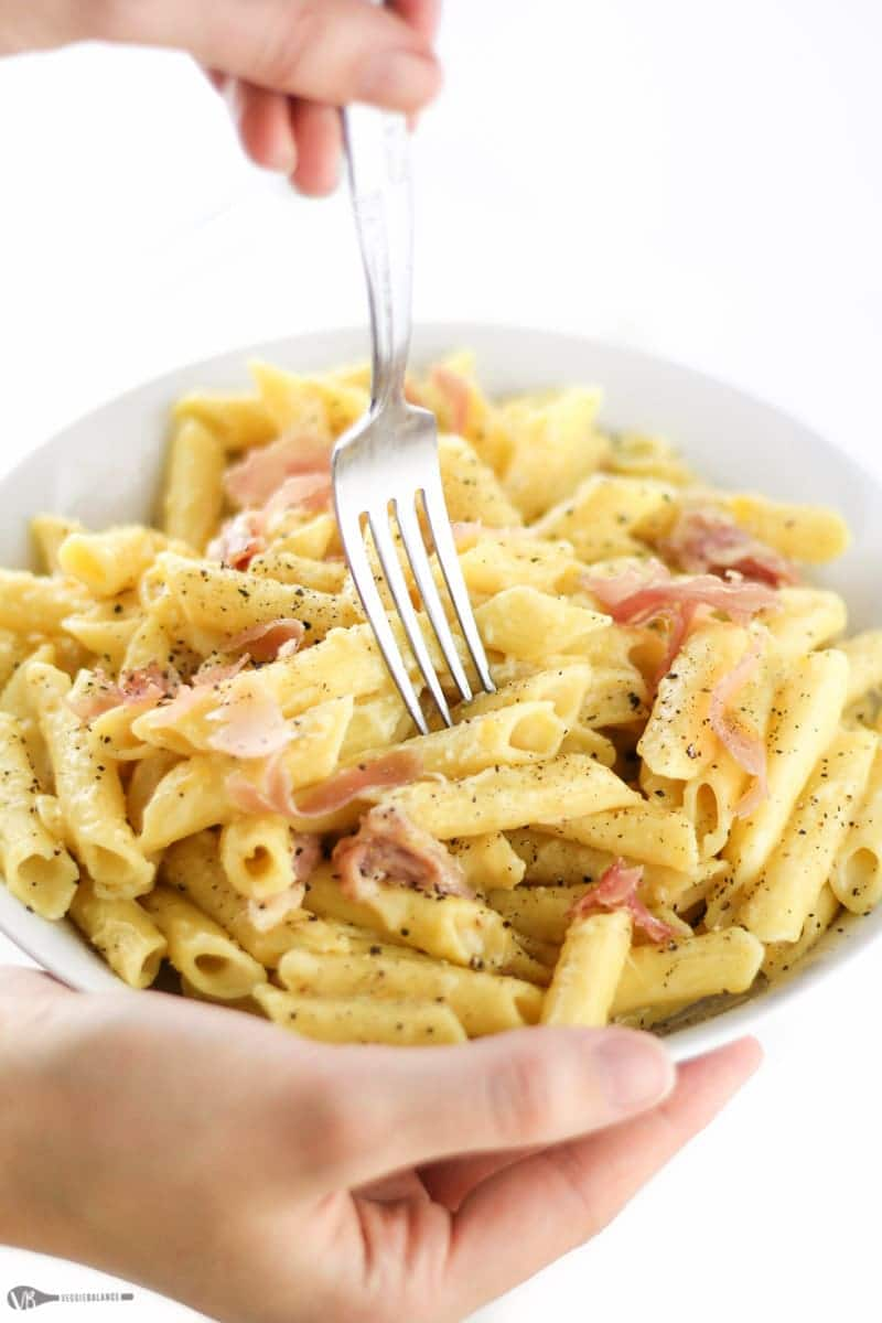 Gluten Free Macaroni and Cheese made in one pot in less than 30 minutes. Gooey and creamy macaroni and cheese with prosciutto tossed in makes the best dinner ever.