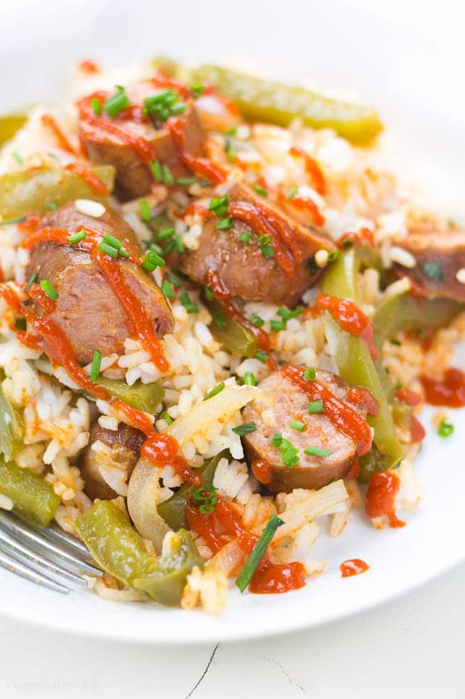 Crockpot Sausage and Peppers on a bed of rice - Veggiebalance.com
